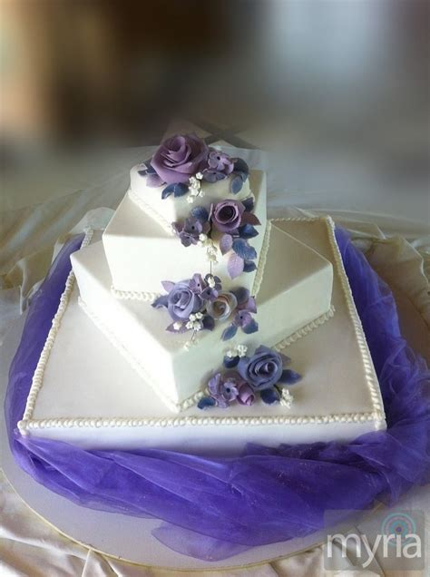 Tiered Wedding Cakes by Square White Tiered Wedding Cake With Purple Flowers Myria