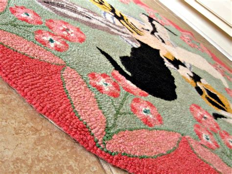 rug cat hooked wool rug cats and saucer design pink green flowers rugs carpets