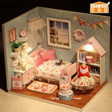 doll house figurines new dollhouse miniature diy kit with cover and led wood toy dolls house room ebay