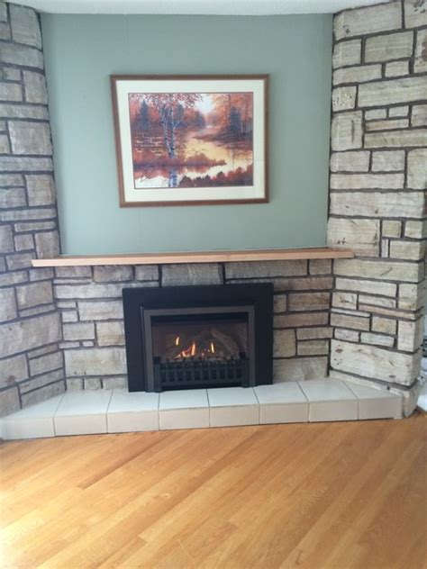 angled gas fireplace insert valor legend rustic