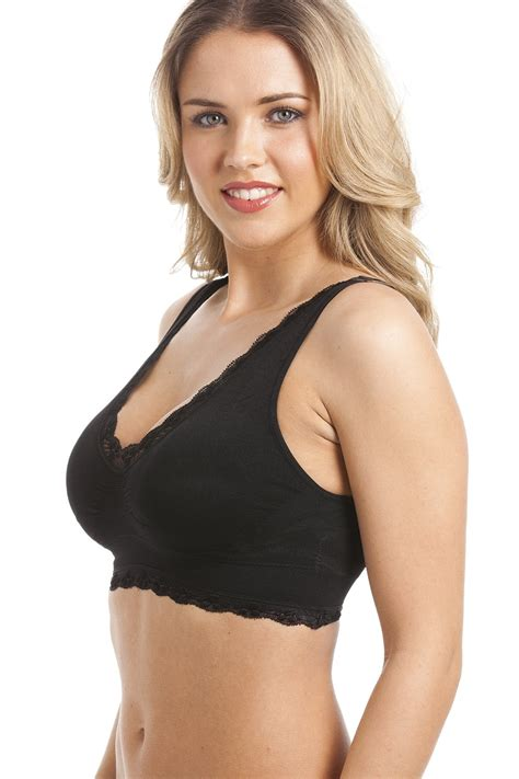 Padded Comfort Bras by Black Non Wire Lace Trim Padded Comfort
