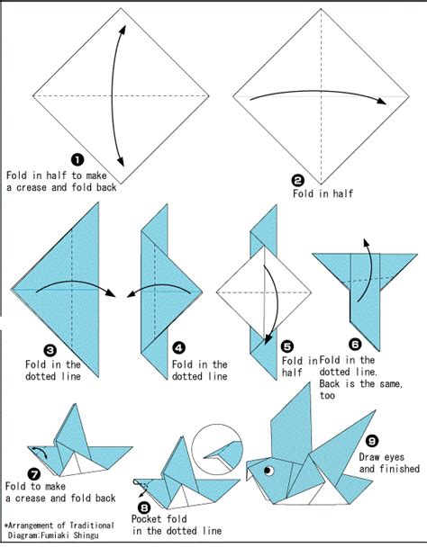 How To Make Paper Birds Step By Step - origami dove printable international