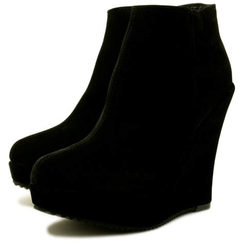 buy keiley wedge heel zip platform ankle boots black