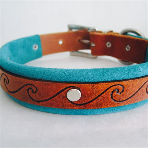 Handmade Leather Collars - handmade leather collar with tooled wave pattern and