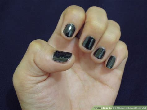 easy nail art wikihow how to do checkerboard nail art 10 steps with pictures
