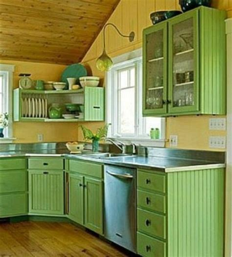 Green Kitchen Cabinets by Cheerful Summer Interiors 50 Green And Yellow Kitchen