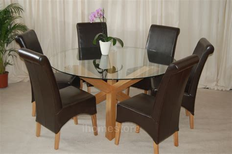 trio 5 solid oak glass dining table 6 chairs ebay