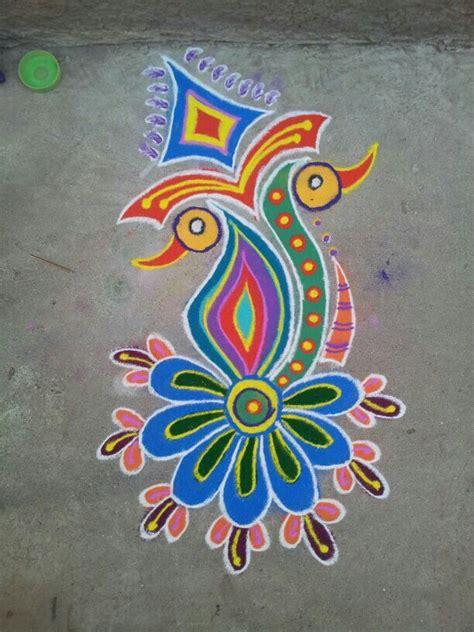 pattern art competition 3 peacock rangoli design by ashwini chopde image