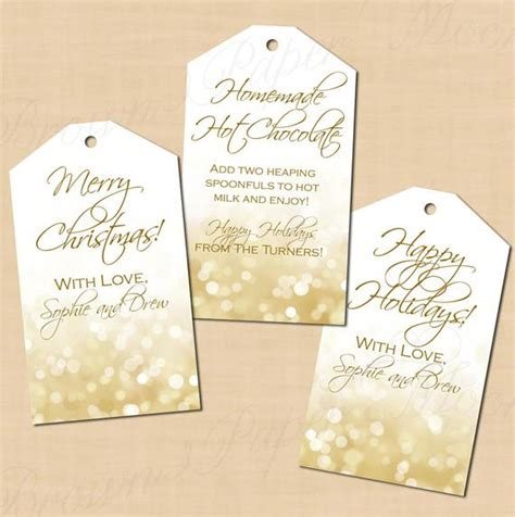 Items Similar To Holiday Editable White Gold Sparkles Gift Tags Fits Avery Template 22802 Avery Gift Tag Template