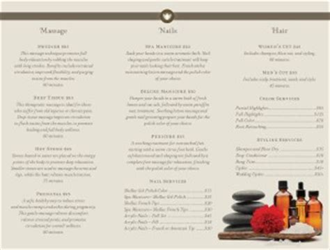 Day Spa Trifold Page Spa Menus Day Spa Menu Template