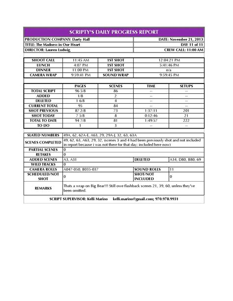 Script Supervisor Daily Progress Report Template Madness Script Supervisor Daily Progress Report Day 11 By
