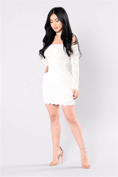 White Lively S M L Dress 44238 shoulder lace bodycon dress white