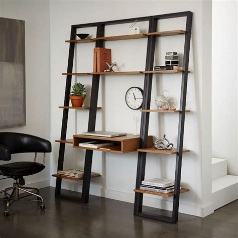 Ladder Shelf Desk Narrow Bookshelf Set West Elm Ladder Bookcase Desk
