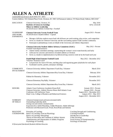 Resume Exles College Athlete Sle Student Resume 7 Documents In Pdf Word