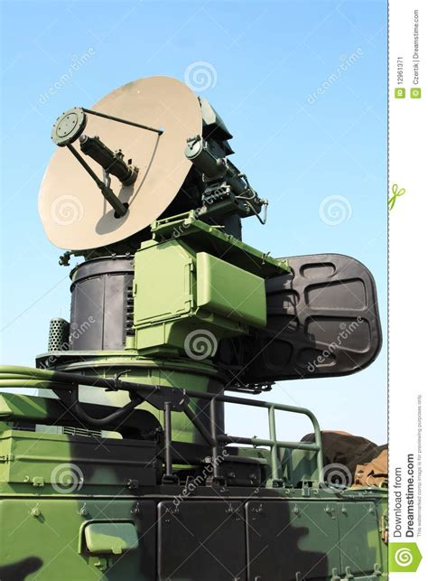 military antenna stock image image  dish mobile army