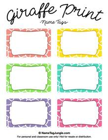 print labels template printable giraffe print name tags