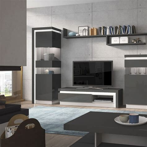 Grey Tv Cabinet by Buy Calabria Platinum And Light Grey Gloss Tv Cabinet 2