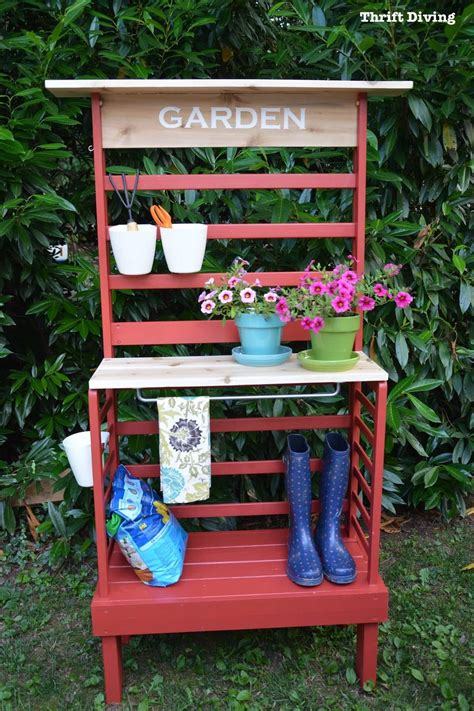 repurposed bench repurposed toddler bed becomes a diy potting bench