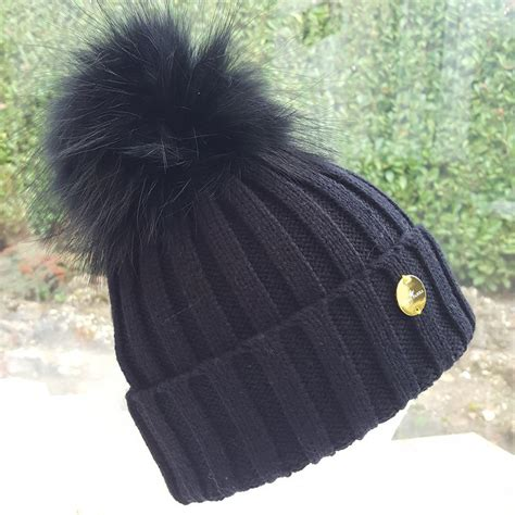 raccoon pomeranian black raccoon fur pom pom hat with black fur pom pom s closet
