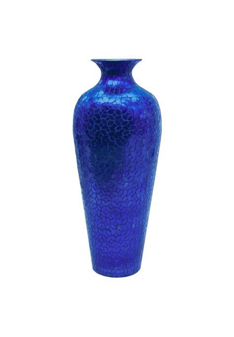 designer vase buy 20 quot vedic vase sparkling metal blue vase glass