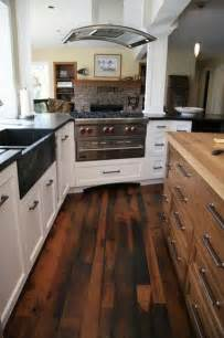 kitchen with wood floors reclaimed wood flooring an eco friendly option that