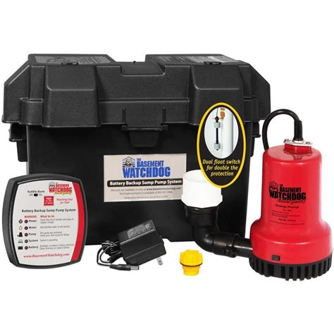 basement watchdog sump shop basement watchdog 0 25 hp plastic battery powered sump at lowes
