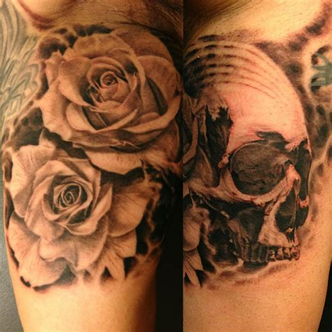 rose and carnation tattoo black and gray and skull jose perez jr