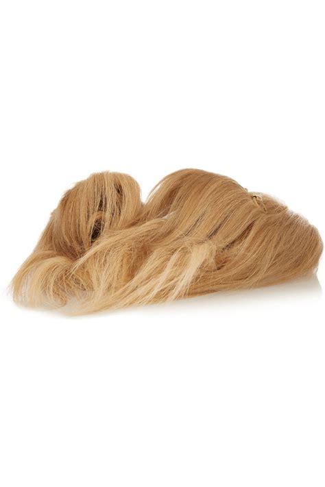 goat slippers lyst gucci horsebit detailed goat hair slippers in