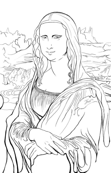 Famous Artists Names Coloring Pages Mona Coloring Page