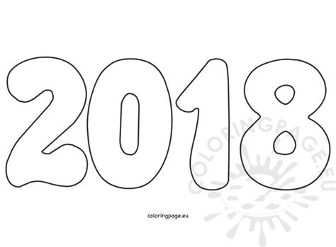 Coloring Pages 2018 Number New Year 2018 On White Background Coloring Page by Coloring Pages 2018
