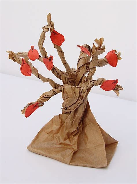 Crafts Using Paper Bags - paper bag apple tree creative