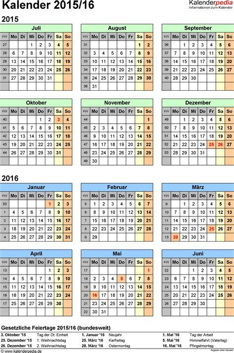 Kalender 2016 Halbjahreskalender Halbjahreskalender 2015 2016 Als Excel Vorlagen Zum Ausdrucken