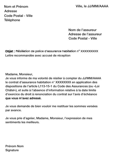 modele resiliation contrat assurance habitation document