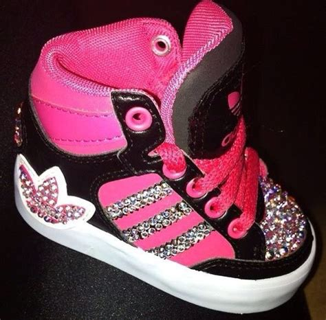 adidas pinkblack  white high top sneakers  kids