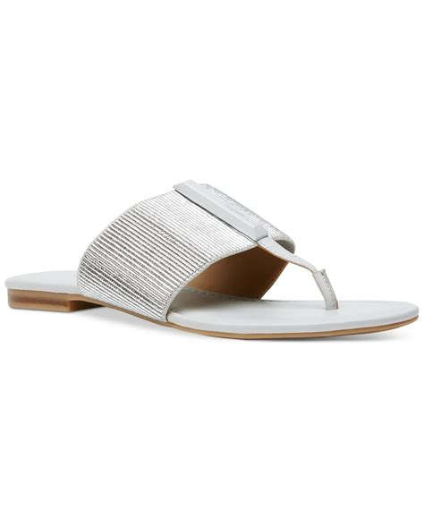 klein sandals calvin klein s bonnie flat sandals in metallic