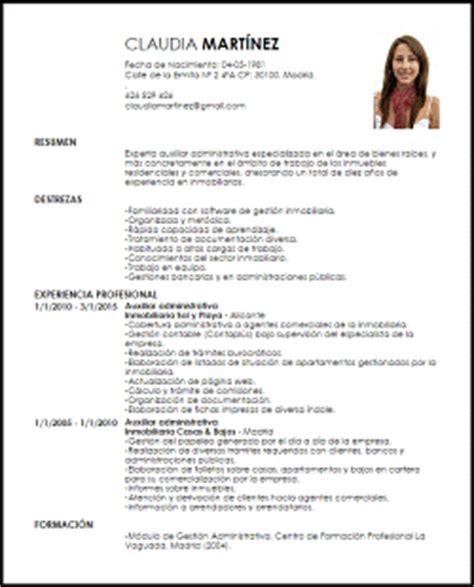 Modelo De Curriculum Vitae De Un Administrativo Modelo Curriculum Vitae Auxiliar Administrativa De Bienes Ra 237 Ces Livecareer