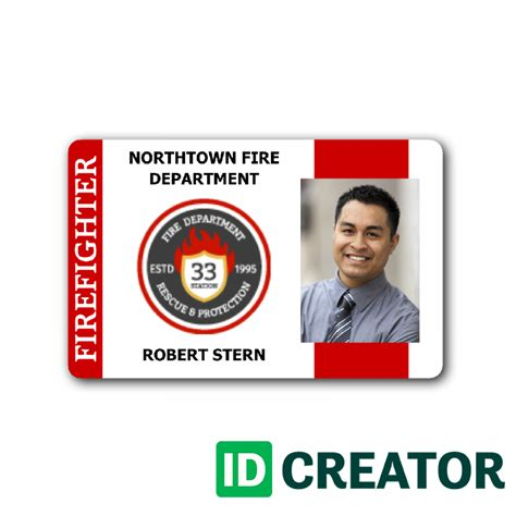 firefighter id cards template id card for department members same day shipping