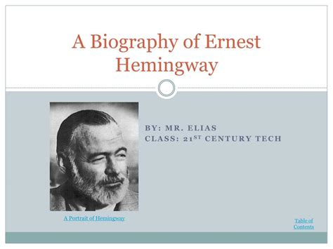 Ppt A Biography Of Ernest Hemingway Powerpoint Powerpoint Biography Template