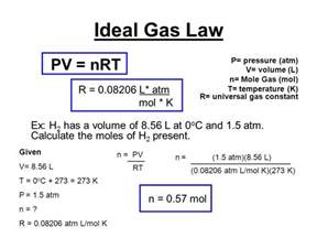 Universal Gas Constant Ideal Gas Law Pv Nrt P Pressure Atm V Volume L