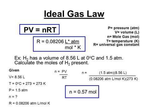 Universal Gas Constant by Ideal Gas Law Pv Nrt P Pressure Atm V Volume L