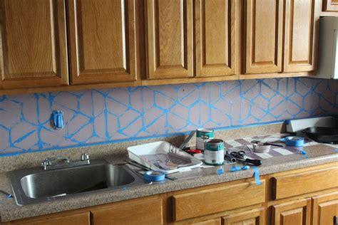 painted backsplash how to paint a geometric tile kitchen backsplash