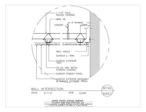 Suspended Ceiling Section Detail by Usg Design Studio 09 21 16 03 431 Durock Suspended