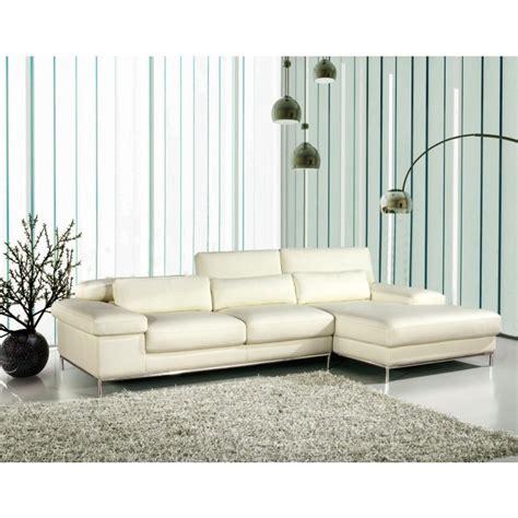 White Leather L Shaped by 681 White Leather L Shape Sectional Sofa