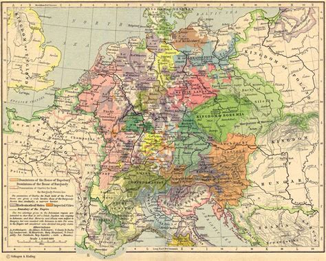 map of central map of central europe about 1477