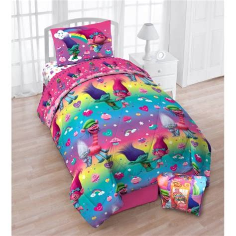 cupcake comforter set dreamworks trolls cupcakes and rainbows bed in a bag