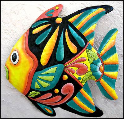 tropical outdoor wall decor yellow turquoise painted metal fish wall hanging