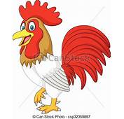 Divertido Pollo Caricatura Gallo Aislado