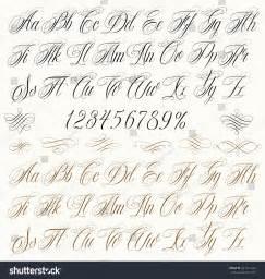 Handmade Calligraphy - handmade vector calligraphy alphabet numbers stock