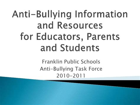 bullying thesis slideshare anti bullying resources from franklin s anti bullying task