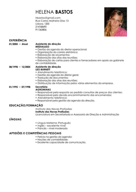 Modelo De Curriculum Vitae De Un Administrativo Modelo De Curriculum Assistente Administrativo Exemplo De Cv Auxiliar Administrativo Livecareer